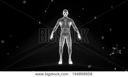 Human Hologram In A Cloud Of Compounds 3D Illustration
