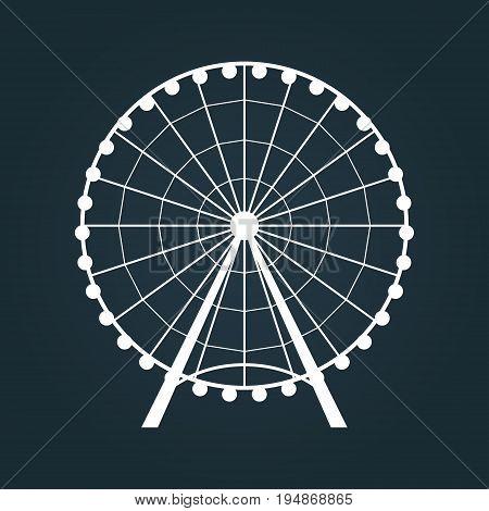 Ferris Wheel icon on dark blue. Vector illustration.