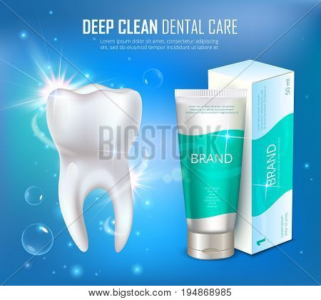 Prophylactic dental deep cleaning medical poster with toothpaste tube and package. Realistic dental cleaning. Teeth whitening. Vector illustration