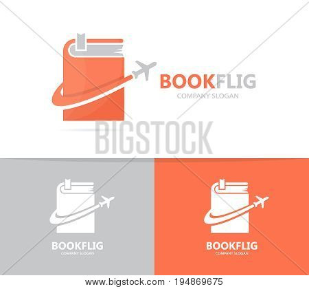 book and airplane logo combination. Library and travel symbol or icon. Unique bookstore and flight logotype design template.