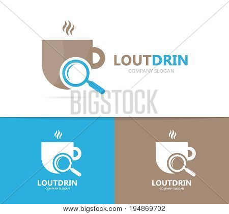 coffee and loupe logo combination. Drink and magnifying glass symbol or icon. Unique cup and search logotype design template.