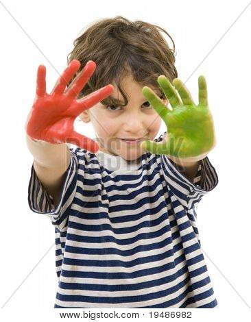 young boy with hands painted in red and green