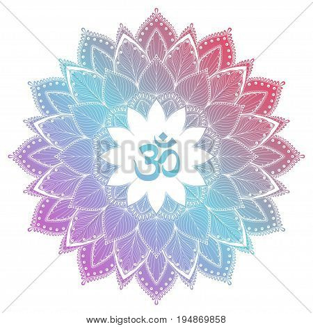 Aum Om Ohm symbol in decorative round mandala ornament. Vector illustration