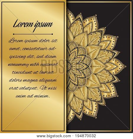 Postcard flyer, frame for congratulations on the wedding, Valentines Day, birthday, invitation, gratitude, celebration, Declaration of love. Vector gold, brown background with mandala. eps10