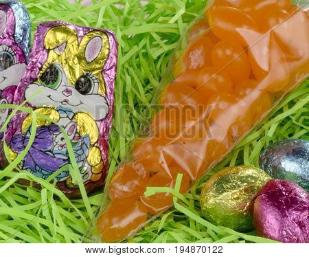 Green Easter Grass with Diffrent Kinds of Chocolate
