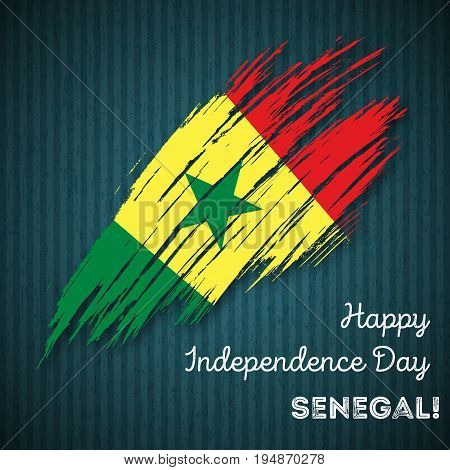 Senegal Independence Day Patriotic Design. Expressive Brush Stroke In National Flag Colors On Dark S