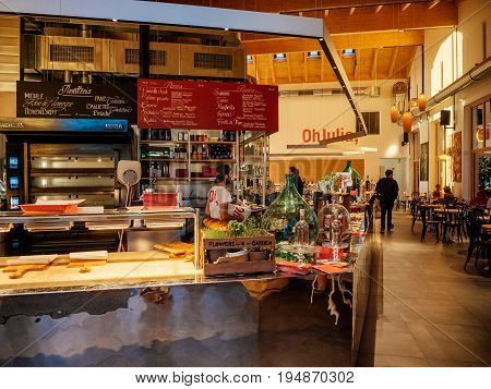 MANNHEIM GERMANY - JUN 30 2017: Interior of the famous authentic German restaurant Oh Julia! family restaurant - interior of people