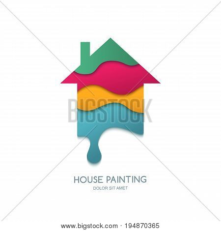House painting service decor and repair. Vector logo design. Multicolor 3d stylized paper house isolated icon. Concept for home decoration building house construction and staining.