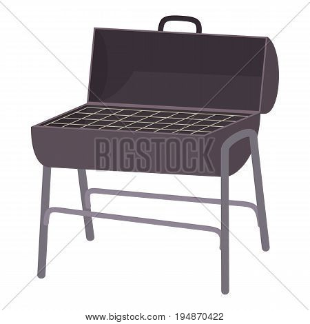 Metal barbecue icon. Cartoon illustration of metal barbecue vector icon for web isolated on white background