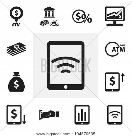 Set Of 12 Editable Financial Icons. Includes Symbols Such As Salary, Cash Growth, Statistics And More. Can Be Used For Web, Mobile, UI And Infographic Design.