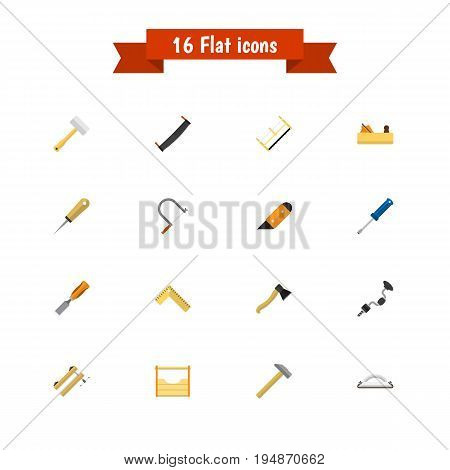 Set Of 16 Editable Tools Icons. Includes Symbols Such As Bit, Hammer, Saw And More. Can Be Used For Web, Mobile, UI And Infographic Design.