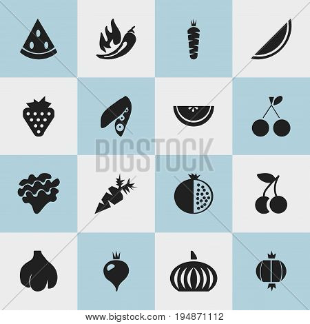 Set Of 16 Editable Fruits Icons. Includes Symbols Such As Fruits, Berry, Root Vegetable And More. Can Be Used For Web, Mobile, UI And Infographic Design.