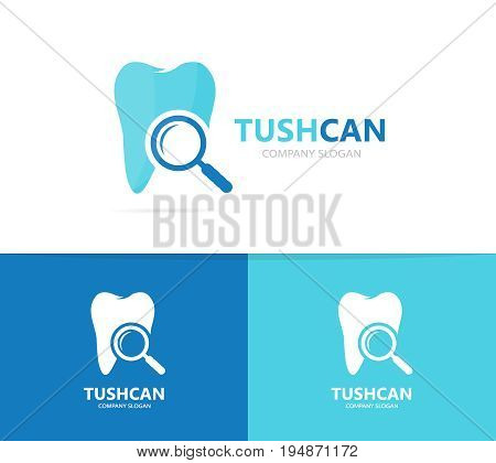 tooth and loupe logo combination. Dental and magnifying glass symbol or icon. Unique clinic and search logotype design template.