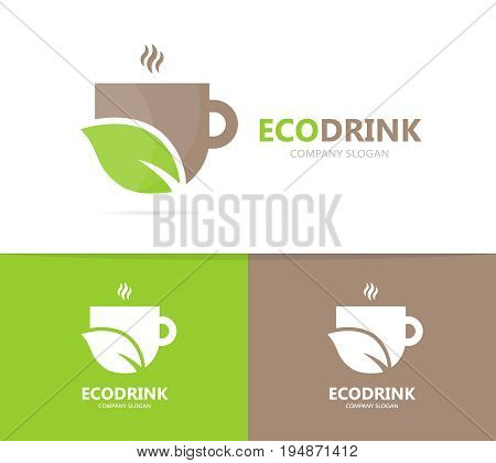 coffee and leaf logo combination. Drink and eco symbol or icon. Unique organic cup and tea logotype design template.