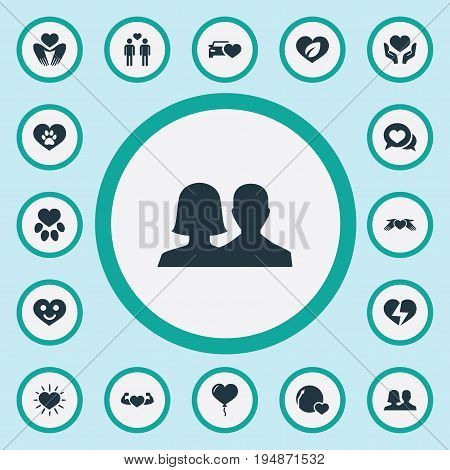 Vector Illustration Set Of Simple Love Icons. Elements Strong, Eco, Bright And Other Synonyms Shining, Heart And Heartbreak.