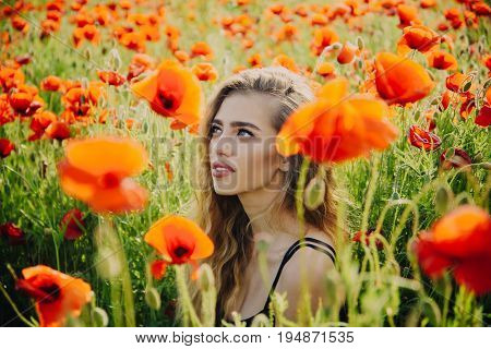 Beautiful Woman On Poppy Field With Long Hair