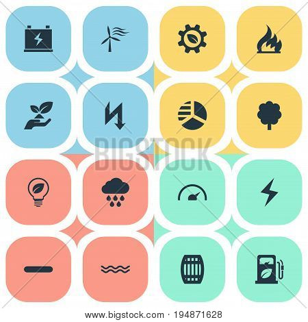 Vector Illustration Set Of Simple Energy Icons. Elements Forest, Safe Lightbulb, Supply And Other Synonyms Power, Diagram And Gauge.