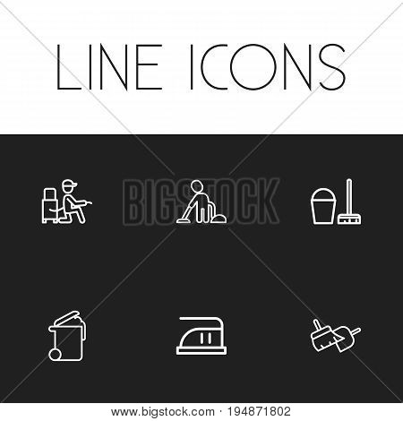 Set Of 6 Editable Cleanup Icons. Includes Symbols Such As Medium Heat, Vacuuming Man, Bucket With Besom And More. Can Be Used For Web, Mobile, UI And Infographic Design.