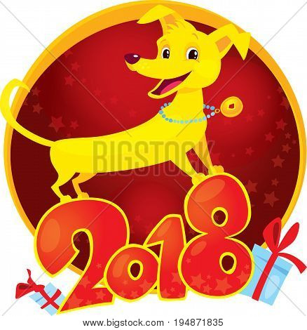 Yellow Dog is the Chinese zodiac symbol of the New Year 2018. Funny puppy congratulates on holiday. Symbol of Chinese horoscope. Cute vector puppy in cartoon style.