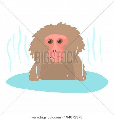 Monkey bathe icon. Cartoon illustration of monkey bathe vector icon for web isolated on white background