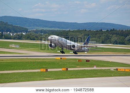 ZURICH - July 30:  United airlines taking off at Terminal A of Zurich Airport on July 30, 2016 in Zurich, Switzerland. Zurich airport is home port for Swiss Air and one of the european hubs.