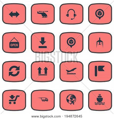 Vector Illustration Set Of Simple Systematization Icons. Elements Fast Cargo, Position Mark, Sea Transport And Other Synonyms Up, Cruise And Download.