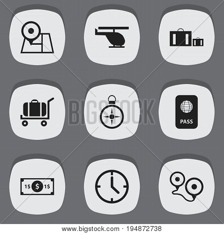 Set Of 9 Editable Journey Icons. Includes Symbols Such As Briefcase, Citizenship, Greenback And More. Can Be Used For Web, Mobile, UI And Infographic Design.