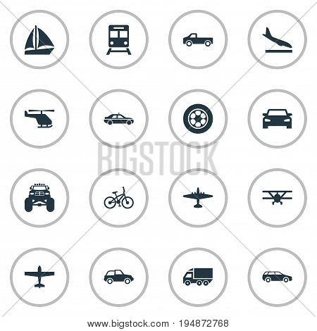 Vector Illustration Set Of Simple Shipment Icons. Elements Metro, Tire, Airliner And Other Synonyms Jet, Lorry And Velocipede.