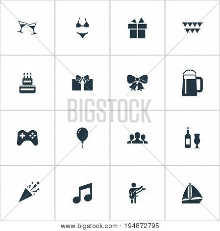 Vector Illustration Set Of Simple Celebration Icons. Elements Wineglasses, Joystick, Tone And Other Synonyms Sea, Popper And Celebration.