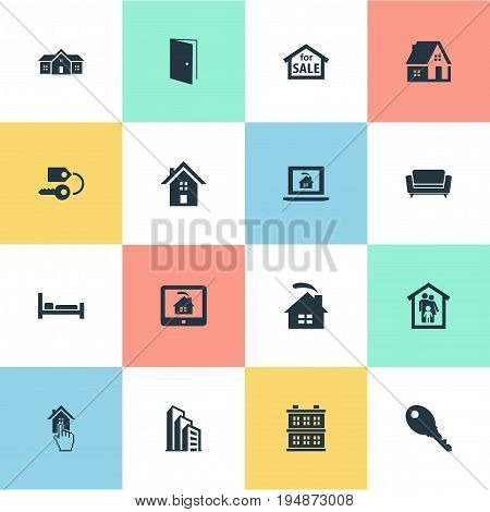 Vector Illustration Set Of Simple Estate Icons. Elements Online Property, Settee, Sale And Other Synonyms Key, Structure And Advertisement.