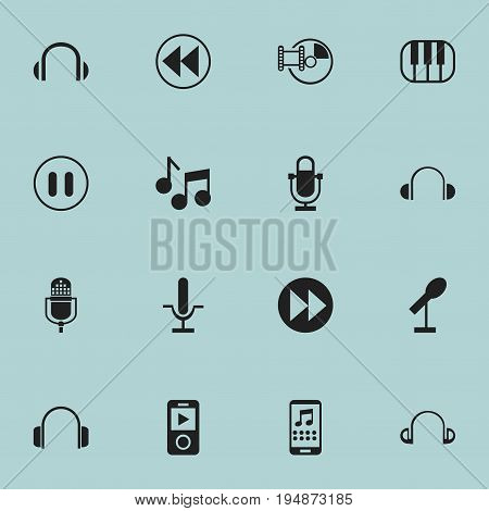 Set Of 16 Editable Mp3 Icons. Includes Symbols Such As Smartphone, Journalism Equipment, Synthesizer And More. Can Be Used For Web, Mobile, UI And Infographic Design.