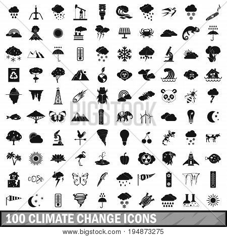 100 climate change icons set in simple style for any design vector illustration