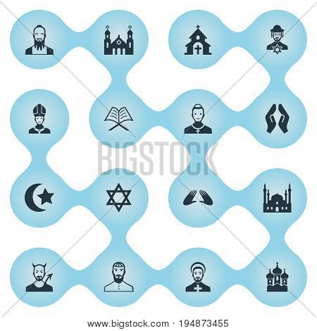 Vector Illustration Set Of Simple Religion Icons. Elements Chaplain, Temple, Clergyman And Other Synonyms David, Blessing And Mohammedanism.