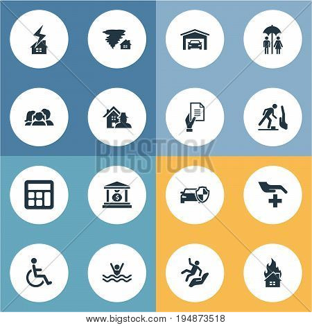 Vector Illustration Set Of Simple Safeguard Icons. Elements Property Break-In, Heat, Banking House And Other Synonyms Falling, Garage And Bank.