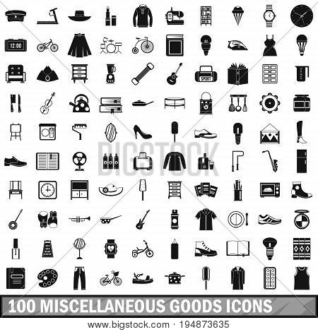 100 miscellaneous goods icons set in simple style for any design vector illustration