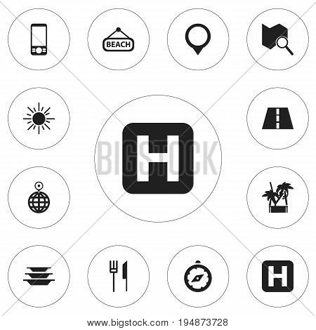 Set Of 12 Editable Holiday Icons. Includes Symbols Such As Sun, Point, Fork With Knife And More. Can Be Used For Web, Mobile, UI And Infographic Design.