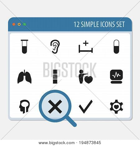 Set Of 12 Editable Clinic Icons. Includes Symbols Such As Listen, Clinic Room, Analysis Container And More. Can Be Used For Web, Mobile, UI And Infographic Design.