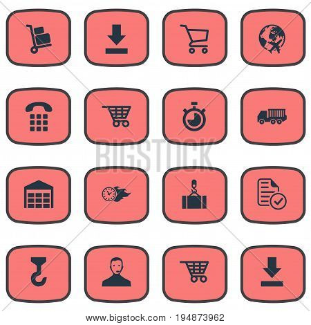 Vector Illustration Set Of Simple Systematization Icons. Elements Down Arrow, Cart, Countdown And Other Synonyms Navigation, Retail And Pushcart.