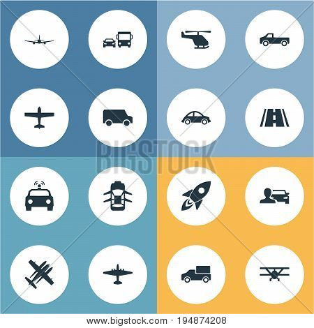 Vector Illustration Set Of Simple Transportation Icons. Elements Military Fighter, Plane, Hatchback And Other Synonyms City, Transportation And Lorry.