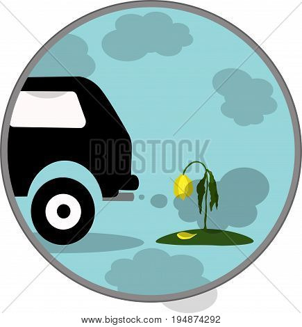 Vector illustration silhouette of car exhaust gas flower icon