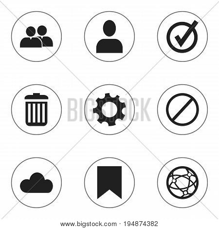 Set Of 9 Editable Internet Icons. Includes Symbols Such As Network, Recycle Bin, Tag And More. Can Be Used For Web, Mobile, UI And Infographic Design.