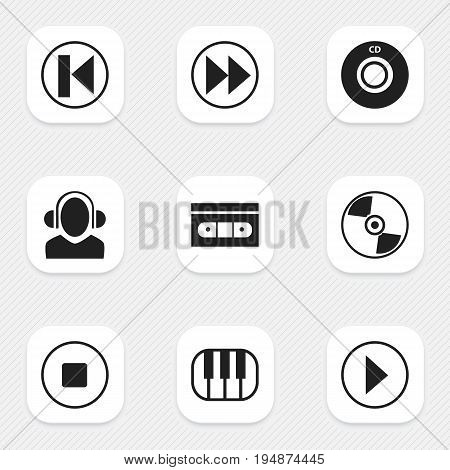 Set Of 9 Editable Song Icons. Includes Symbols Such As Previous, Disc, Tape And More. Can Be Used For Web, Mobile, UI And Infographic Design.