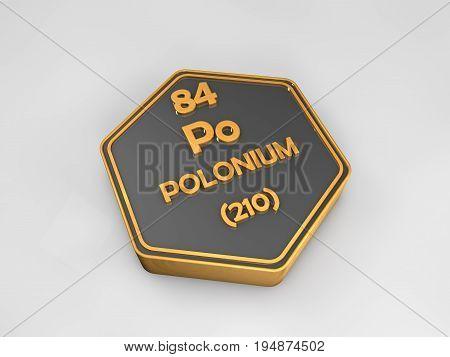 Polonium - po - chemical element periodic table hexagonal shape 3d render