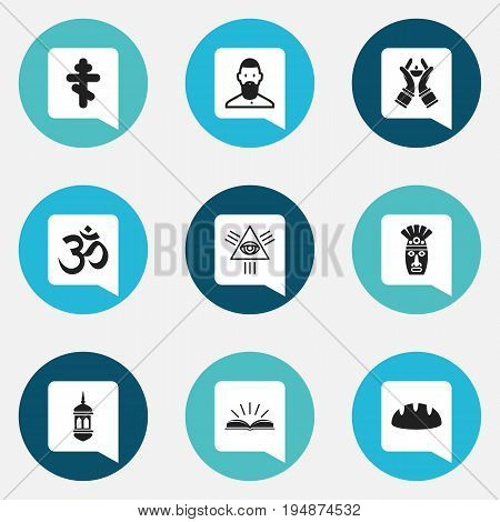 Set Of 9 Editable Religion Icons. Includes Symbols Such As Minaret, Muslim, Candlestick. Can Be Used For Web, Mobile, UI And Infographic Design.