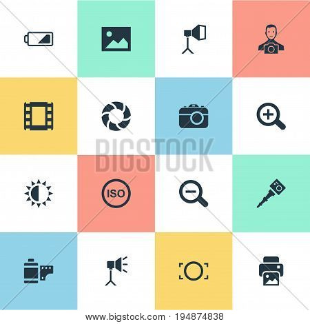 Vector Illustration Set Of Simple Photographer Icons. Elements Flame Instrument, Energy, Inkjet And Other Synonyms Lens, Removable And Picture.