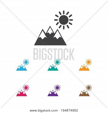 Vector Illustration Of Trip Symbol On Pinnacle Icon. Premium Quality Isolated Landscape Element In Trendy Flat Style.