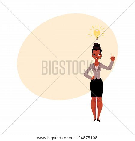 Black, African American businesswoman having idea, light bulb as symbol of business insight, cartoon vector illustration with space for text. Black businesswoman has just got idea, insight