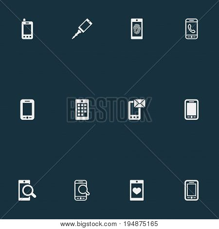 Vector Illustration Set Of Simple Smartphone Icons. Elements Communicating, Numbers, Coupling Device And Other Synonyms Mobile Phone, Screen And Calling.