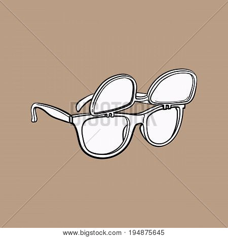 Retro wayfarer sunglasses with removable lenses, fashion accessory from 90s, sketch vector illustration isolated on brown background. Retro sunglasses with removable lenses, personal item from 90s