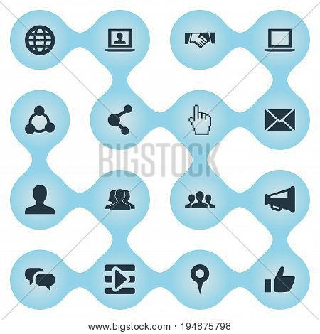 Vector Illustration Set Of Simple Internet Icons. Elements Group, Letter, Notebook And Other Synonyms Mail, Vote And Group.